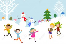 winter-time-kids-playing-snow-in-park-Stock-Vector